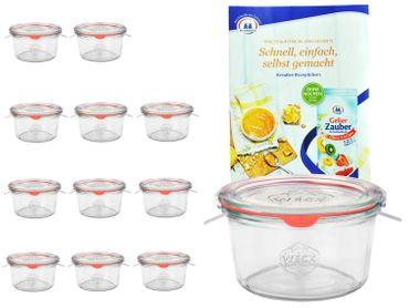 12er Set Weck Gläser 50ml Sturzgläser mit 12 Glasdeckeln, 12 Einkochringen und 24 Klammern inkl. Gelierzauber Rezeptheft von Diamantzucker – Bild 1