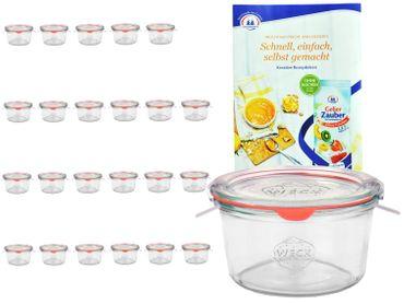 24er Set Weck Gläser 50ml Sturzgläser mit 24 Glasdeckeln, 24 Einkochringen und 48 Klammern inkl. Gelierzauber Rezeptheft von Diamantzucker – Bild 1