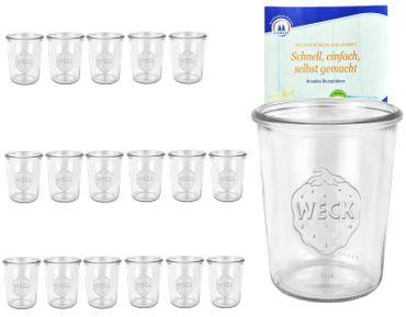 18er Set Weck Gläser 850ml, 3/4L Sturzgläser inkl. Gelierzauber Rezeptheft von Diamantzucker – Bild 1