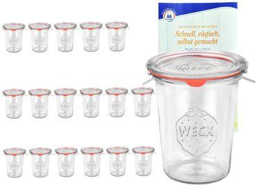 18er Set Weck Gläser 850ml, 3/4L Sturzgläser mit 18 Glasdeckeln, 18 Einkochringen und 36 Klammern inkl. Gelierzauber Rezeptheft von Diamantzucker – Bild 1