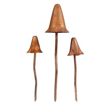 3tlg. Set Deko-Pilze aus Metall matt-bronze in zwei Größen - 3695 – Bild 2