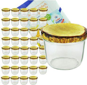 40er Set Sturzglas 230 ml mit Holzdekor Deckel inkl. Diamant Gelierzauber Rezeptheft – Bild 1