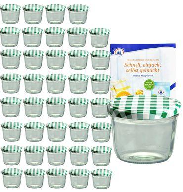 40er Set Sturzglas 230 ml mit grün kariertem Deckel inkl. Diamant Gelierzauber Rezeptheft – Bild 1