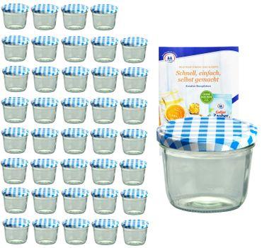 40er Set Sturzglas 230 ml mit blau kariertem Deckel inkl. Diamant Gelierzauber Rezeptheft – Bild 1