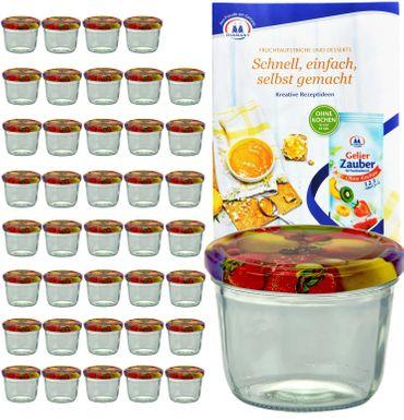 40er Set Sturzglas 230 ml mit Obst Dekor Deckel inkl. Diamant Gelierzauber Rezeptheft – Bild 1