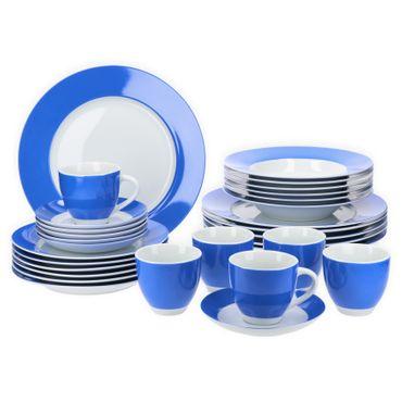 Van Well Kombiservice 30-tlg. für 6 Personen Serie Vario Porzellan - Farbe wählbar blau