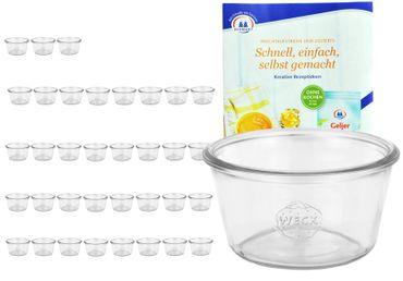 36er Set Weck Sturzgläser 290ml nieder, 1/5L Gläser inkl. Gelierzauber Rezeptheft von Diamantzucker – Bild 1