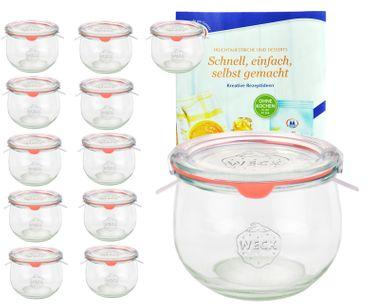 12er Set Weck Gläser 580ml Tulpengläser 1/2L mit 12 Glasdeckeln, 12 Einkochringen und 24 Klammern inkl. Gelierzauber Rezeptheft von Diamantzucker – Bild 1