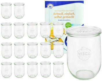 18er Set Weck Gläser 1062ml Tulpengläser, 1L Sturzgläser mit 18 Glasdeckeln inkl. Gelierzauber Rezeptheft von Diamantzucker – Bild 1