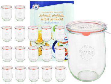 18er Set Weck Gläser 1062ml Tulpengläser, 1L Sturzgläser mit 18 Glasdeckeln, 18 Einkochringen und 36 Klammern inkl. Gelierzauber Rezeptheft von Diamantzucker – Bild 1