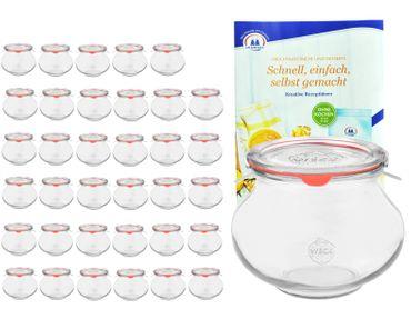 36er Set Weck Gläser 220ml Schmuckgläser, 1/4L Sturzgläser mit 36 Glasdeckeln, 36 Einkochringen und 72 Klammern inkl. Gelierzauber Rezeptheft von Diamantzucker – Bild 1
