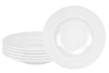 6er Set Pastateller Pasta-Bowl Wellco 30cm weiß, rund, porzellan