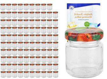 100er Set Sturzglas 53 ml To 43 Obst Dekor Deckel incl. Diamant Gelierzauber Rezeptheft – Bild 1