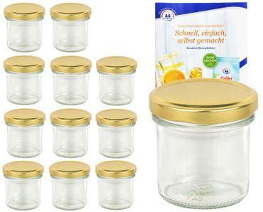 12er Set Sturzglas 167 ml To 66 goldener Deckel incl. Diamant Gelierzauber Rezeptheft – Bild 1