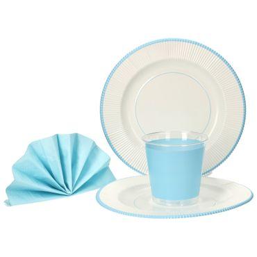 56-teiliges Set Einweggeschirr in blau / weiß, für 16 Personen – Bild 1