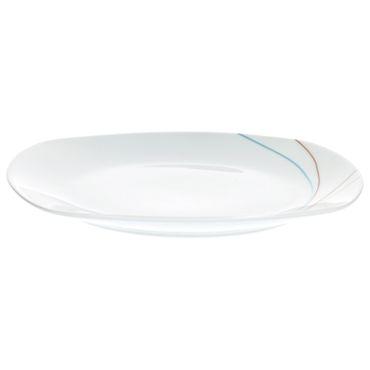 Frühstücksset 18tlg. Aliha leicht eckig Porzellan für 6 Personen weiß mit buntem Liniendekor – Bild 2