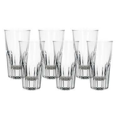 6er Set Rialtobecher Arosa 16cl Likörglas Whiskybecher mit Streifenrelief kristallklar – Bild 1