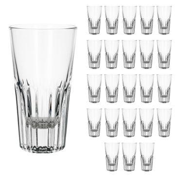 24er Set Rialtobecher Arosa 16cl Likörglas Whiskybecher mit Streifenrelief kristallklar