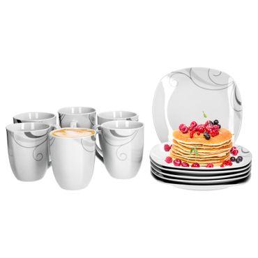 Frühstücksset 12tlg. Portofino leicht eckig Porzellan für 6 Personen weiß mit grauem Rankendekor – Bild 1