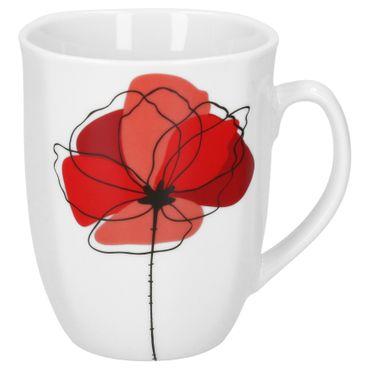 Frühstücksset 36tlg. Monika leicht eckig Porzellan für 6 Personen weiß mit rotem Blumendekor – Bild 4