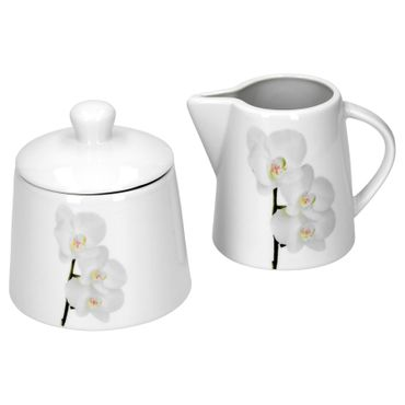 Kaffeeergänzungsset Milchkännchen & Zuckerdose Vanda weiße Orchidee – Bild 1