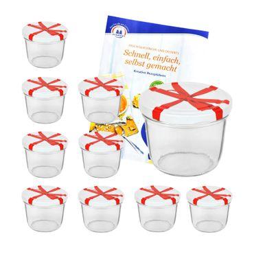 10er Set Sturzglas 230 ml mit Schleifendekor Deckel inkl. Diamant Gelierzauber Rezeptheft – Bild 1
