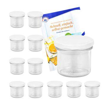 12er Set Sturzglas 125 ml Marmeladenglas Einmachglas Einweckglas To 66 weißer Deckel incl. Diamant-Zucker Gelierzauber Rezeptheft – Bild 1