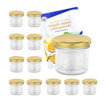 12er Set Sturzglas 125 ml Marmeladenglas Einmachglas Einweckglas To 66 goldener Deckel incl. Diamant-Zucker Gelierzauber Rezeptheft – Bild 1