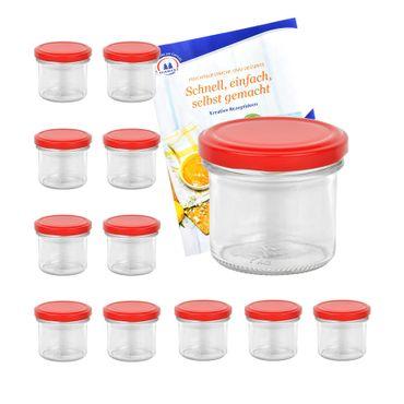12er Set Sturzglas 125 ml Marmeladenglas Einmachglas Einweckglas To 66 Erdbeer Deckel incl. Diamant-Zucker Gelierzauber Rezeptheft – Bild 1