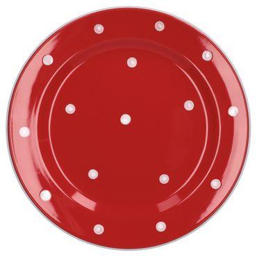Essteller flach Emily 27cm rot mit weißen Punkten – Bild 1