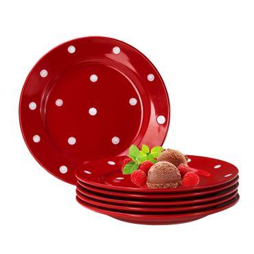 6er Set Dessertteller Emily 20cm rot mit weißen Punkten – Bild 1