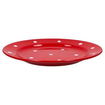 6er Set Essteller flach Emily 27cm rot mit weißen Punkten – Bild 3
