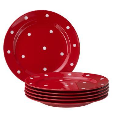 6er Set Essteller flach Emily 27cm rot mit weißen Punkten – Bild 1