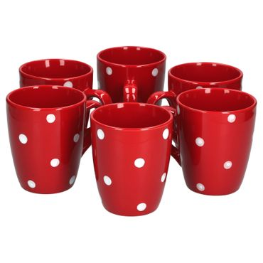 6er Set Kaffeebecher Emily 39cl rot mit weißen Punkten – Bild 2
