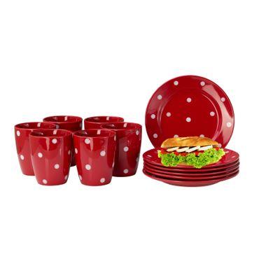 24tlg. Frühhstücksset Emily rot mit weißen Punkten für 12 Personen – Bild 1