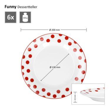 Van Well 6er Set Dessert- Kuchenteller Serie Funny Porzellan  – Bild 4