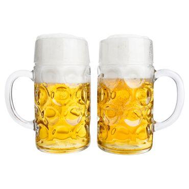 """2er Set Maßkrug """"Wellco"""" - 1 Liter Bierkrug aus Glas - geeicht – Bild 1"""