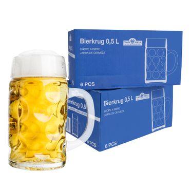 """12er Set Bierkrug """"Wellco"""" - 0,5 Liter aus Glas"""