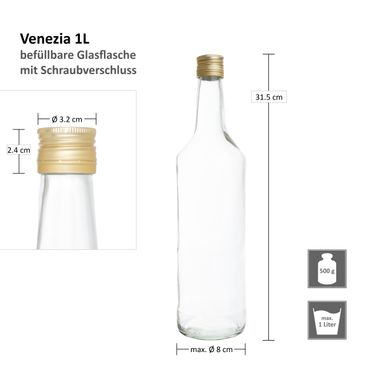 12er Set Van Well Flasche Venezia 1L – Bild 7