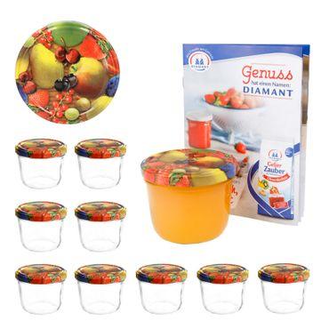10er Set Sturzglas 230 ml To 82 Obst gelbe Birne Deckel incl. Diamant Gelierzauber Rezeptheft – Bild 1