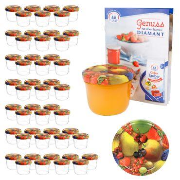 50er Set Sturzglas 230 ml To 82 Obst gelbe Birne Deckel incl. Diamant Gelierzauber Rezeptheft – Bild 1