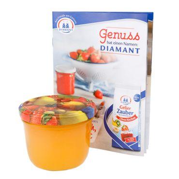 75er Set Sturzglas 230 ml To 82 Obst gelbe Birne Deckel incl. Diamant Gelierzauber Rezeptheft – Bild 5