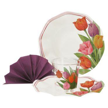 52-teiliges Set Einweggeschirr Tanja mit bunten Tulpen, für 16 Personen - 2x 43SN + 2x 71SN + 1x 07TP
