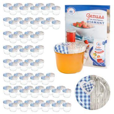 100er Set Sturzglas 230 ml To 82 Holz Herz blau Deckel incl. Diamant Gelierzauber Rezeptheft – Bild 1