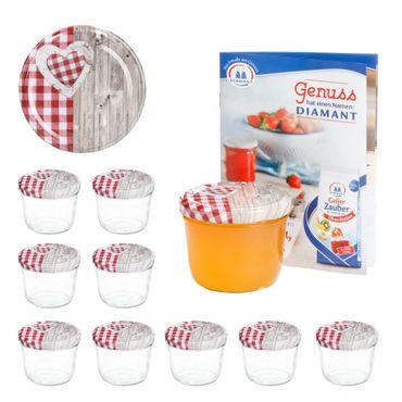 10er Set Sturzglas 230 ml To 82 Holz Herz rot Deckel incl. Diamant Gelierzauber Rezeptheft – Bild 1