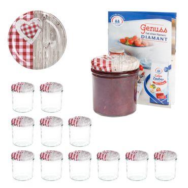 12er Set Sturzglas 350 ml To 82 Deckel Holz-Herz rot incl. Diamant Gelierzauber Rezeptheft – Bild 1