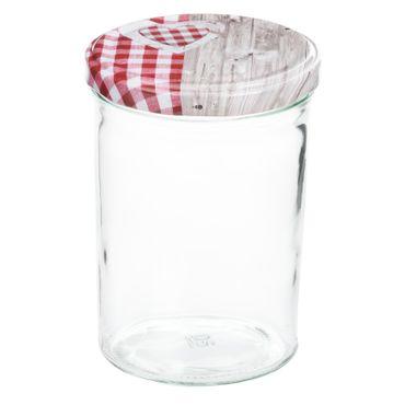 12er Set Sturzglas 435 ml To 82 Deckel Holz Herz rot incl. Diamant Gelierzauber Rezeptheft – Bild 2
