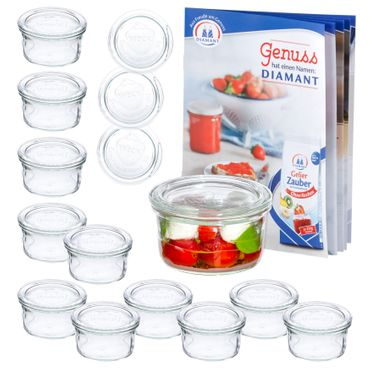 12er Set Weck Gläser 165ml Sturzglas mit 12 Glasdeckeln – Bild 1