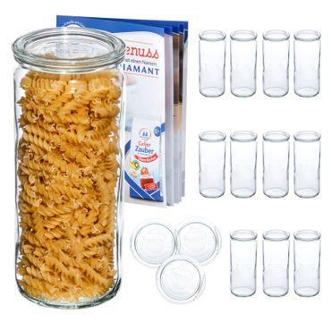 12er Set Weck Gläser 1040ml Zylinderglas mit 12 Glasdeckeln