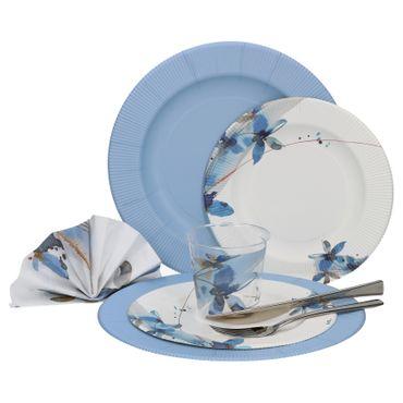 60-teiliges Set Einweggeschirr Anabelle blaue Blumen, für 8 Personen - 241TZO + 243RB + 71RB + 07RB + 8x Messer + 8x Gabel – Bild 1